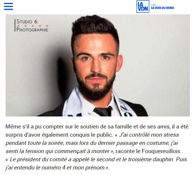 Mister France Nord Pas de Calais Revue de Presse