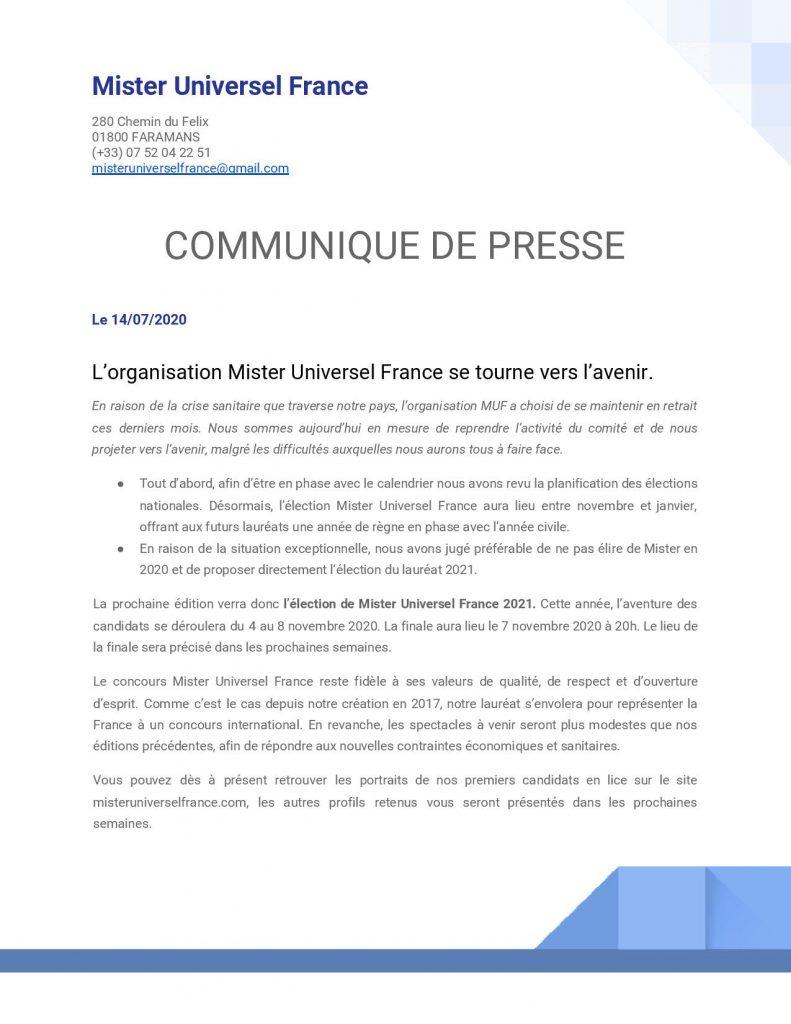 Communiqué de presse Mister Universel France - Juillet 2020